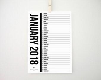 2018 Printable Monthly Vertical Calendar, Wall Calendar, Minimal Calendar, 2018 Planner, Organizer, Notepad, Diary, Scandinavian Design, PDF
