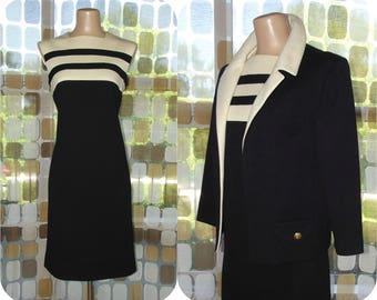 Vintage 60s MOD Colorblock Dress Jacket Set   1960s Little Black Dress   Virgin Wool Shift Dress   Black & Cream Striped Dress Suit   Sz 14