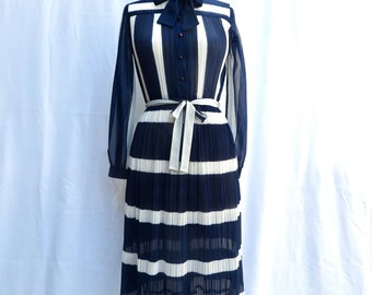 "Vintage 1970's/Navy Blue and White Striped  Day Dress/Hal Ferman/Navy and White Stripe Secretary Dress/28"" Waist/Small-Medium"