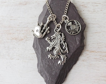 Scotland Charm Necklace with Bagpipes Charm Scottish Lion Charm and Thistle Charm, Scottish Jewellery, Charm Jewellery, UK, 1813