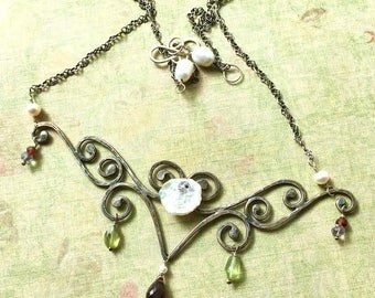 Scrollwork Sterling Silver Necklace Garnet Statement Necklace Floral Necklace With Gemstones