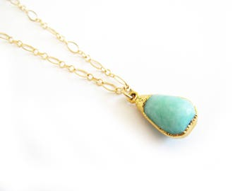 Green/Blue Jade Quartzite Gold Necklace