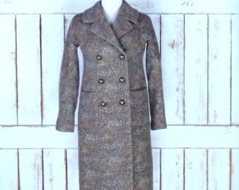 Vintage 90s Talbots wool felt leopard/cheetah print double breast winter coat/long fitted animal print jacket/4 petite