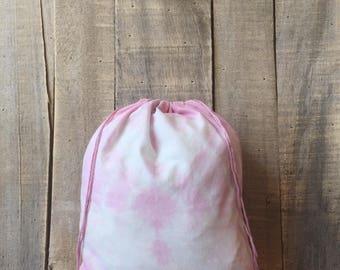 Pink Tie Dye 10 x 12 Project Bag - knitting bag -crochet bag - sewing bag - Sheepy Saks - sock knitting - gifts for knitters - fiber bag