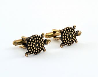 Sea Turtle Cuff Links, Antiqued Brass Cufflinks, Whimsical, Quirky, Unique, Gold Cuff Links