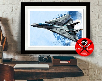 """AIRPLANE - SALE! 18""""X24"""" - F14 Tomcat Jet Fighter - Airplane Decor, Art Print, Air Force, Military Gift, Aviation, Pilot gift"""