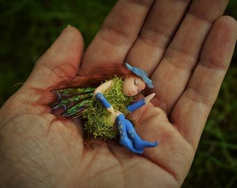 Blue Nestling Pixie, Fairy House Fairy, Water Fairy in Nest, Hand sculpted without molds, Sleeping Faerie, Sleeping Pixie