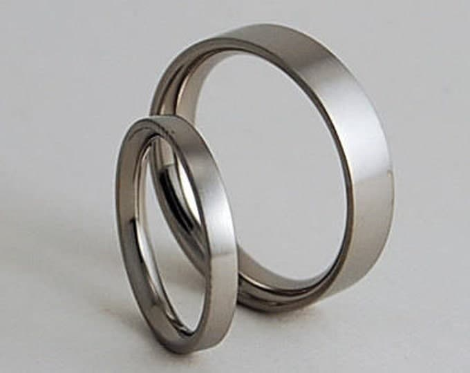 Wedding Band Set , Titanium Rings , Wedding Bands , Aphrodite and Apollo Bands with Comfort Fit