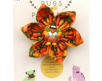 Autumn Dog Bow -Pilgrim Turkey on Pumpkins - Flower - Collar Blossom - Medium Size