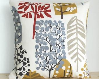 Cotton Pillow Cover, Scandinavian Pillow Case, Modern Cushion Cover, Throw Pillow Sham, Pillowcase - Lollipop Trees Dusky Blue
