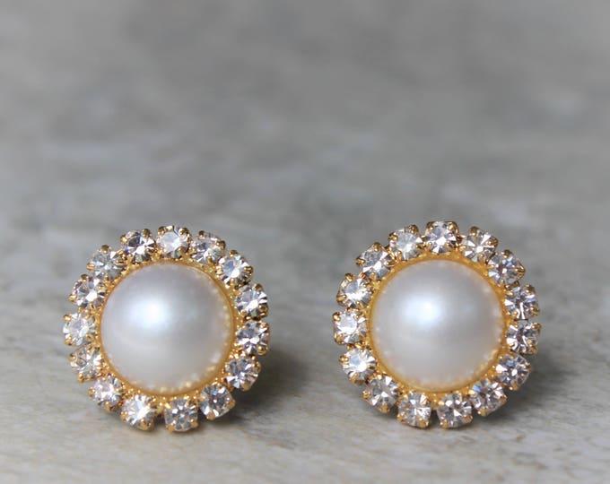 Gold Bridesmaid Earrings, Gold Pearl Earrings, Gold Bridal Earrings, Gold Bridesmaid Jewelry, White or Ivory Pearl, Bridesmaid Earring Gift