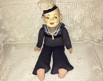 Vintage Sailor Doll – Nautical Doll – Navy Memorabilia – Holland America Line – Norah Wellings