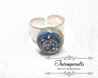 Blue and silver dots lampwork bead changeable and adjustable ring, OOAK, SABAVI13