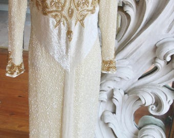 Vintage 1980s - 1990s White & Gold Beaded Gown