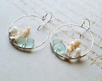 Coral Beach Hoops, Pastel Beach Glass Earrings, Pink Mint Hoop Earrings:  Ready to Ship
