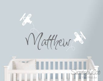 Children name decal - wall decals nursery - Name quote - Personalized name decal - Nursery decor - Children name - airoplane name decal