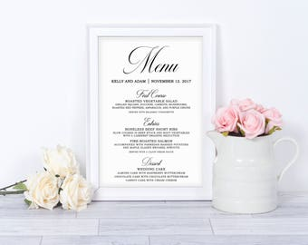 Menu Template | Editable Wedding Menu | Instant Download | 5x7 wedding menu | Reception Menu | Printable Wedding Menu Template