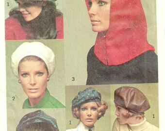 Vintage Hat Beret Ascot Sash Pattern Simplicity 7872