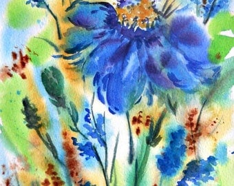 Blue Watercolor Flowers by Martha Kisling Art With Heart