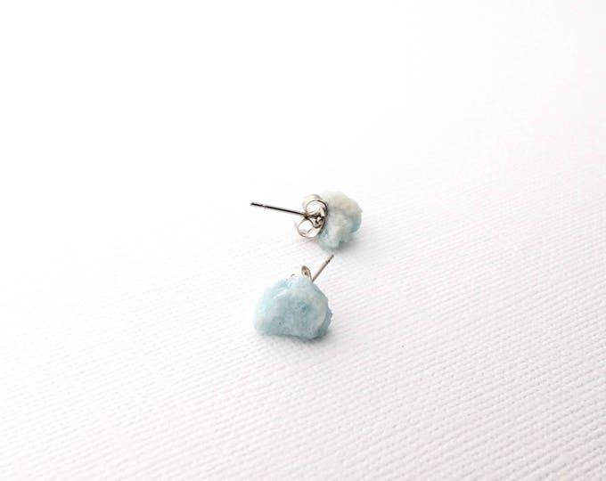 Aquamarine Raw Crystal Stud Earrings
