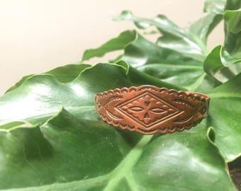 Copper Aztec Stamped Bracelet