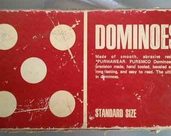 Rare Set of Purmawear, Puremco Dominoes, Vintage Dominoes, Standard Size, Complete Set in the Original Box, Hand Tooled, Beveled Edges