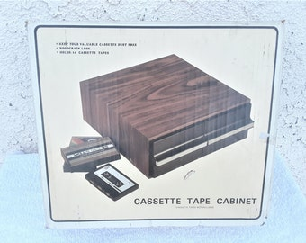 Vintage  Cassette  Tape  Cabinet  Holds  24''