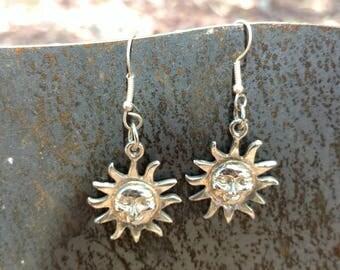 Sunshine Earrings, Sun Earrings, Tribal, Hippie Jewelry, bohemian jewelry, Sun Jewelry, moon Earrings, star Earrings, Zen, Bohemian, Bridal