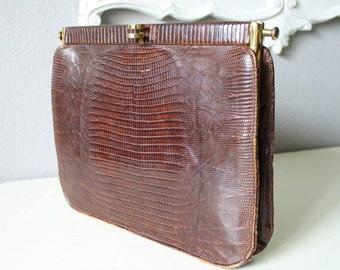 Vintage Alligator Handbag, I.Lampert of San Francisco, Brown Reptile Purse 40's 50's