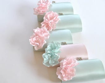 Set of 6-Small Bridesmaid clutches / Wedding clutches - CUSTOM COLOR