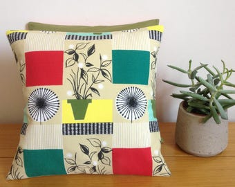 botanical fabric vintage flowerpot fabric botanical pillow 1950s fabric 50s cushion Tom Mellor fabric