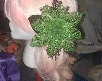 Green Flower Clip