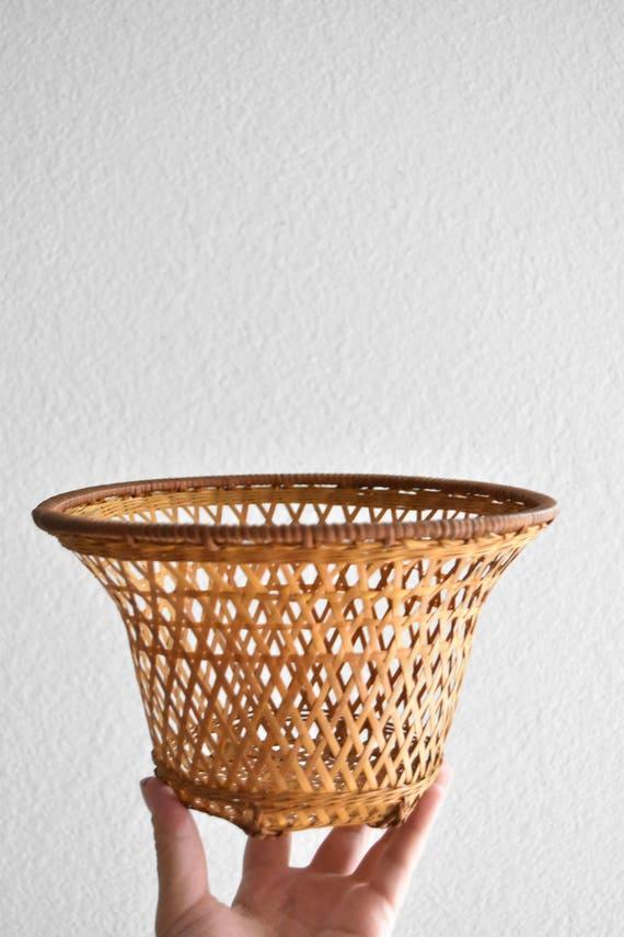 small woven rattan basket planter