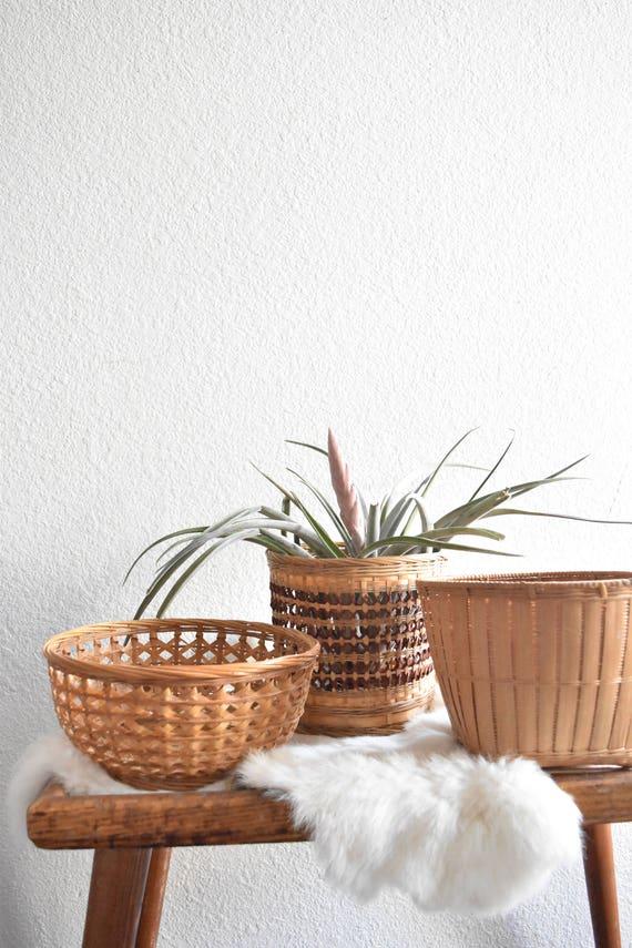 set of 3 woven rattan basket planters