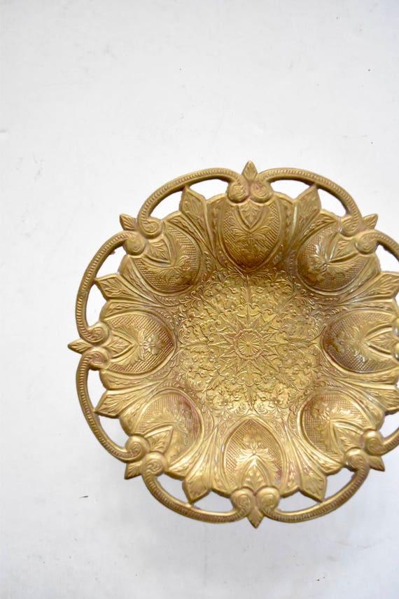 ornate vintage solid brass flower bowl / star catch all trinket holder container on pedestal