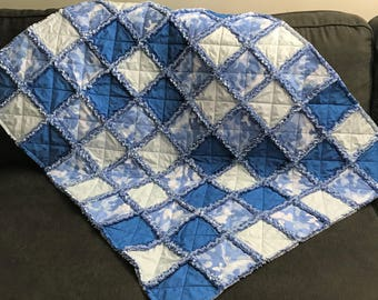 Blue Camo Baby Rag Quilt Handmade One Of A Kind Baby Rag Quilt Baby Crib Nursery Shabby Chic Quilt  2
