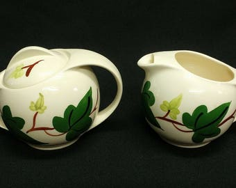 Vintage Blue Ridge Southern Pottery Cream and Sugar Set w/Lid in the BALTIC IVY Pattern Ref 19365