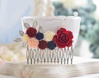 Dark Red  Navy Blue Wedding Hair Comb, Marsala  Burgundy Navy Blue Blush Pink Ivory Flowers Silver leaf Bridal Hair Comb, Country Wedding