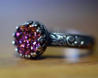 Pink Druzy Ring, Renaissance Style Jewelry, Oxidized Silver Ring, Druzy Agate Jewelry