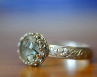 Green Rutile Ring, Rutile Quartz Ring, Tourmalinated Quartz Engagement Ring, Personalised Floral Silver Ring, Customised Gemstone Jewelry