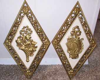 Mid Century Hollywood Regency Wall Art Syroco Wood Plaques Set of 2 Violin Floral Made in USA
