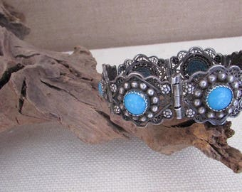 Vintage 70s Bracelet | 1970's Mexican Filigree Link Bracelet | Baby Blue Beads | Made in Mexico | Boho, Hippie, Folk