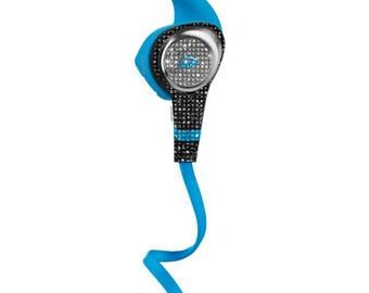 Custom Blue Monster Earphones with Swarovski,Bedazzled Monster Earphones with Crystals, Custom Monster earphones, Monster earphones