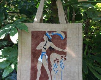 Prince of the Lilies Minoan fresco hand painted jute bag