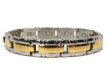 24K Gold Plated 2 Tone Bracelet 7 Inch Fashion Jewelry