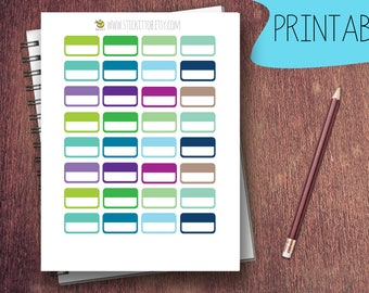 PRINTABLE Rectangle Labels Cool Tones Planner Stickers