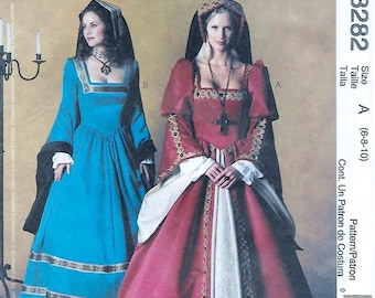 McCall's 3282  Misses' Renaissance Tudor Costume Sewing Pattern Size 6 to 10 Bust 30 to 32