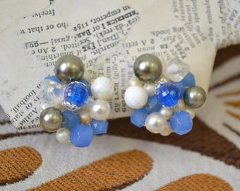 1960s  Bead Cluster Clip Earrings