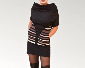 Sleeves black cotton jersey tunic dress, Cowl neckline.