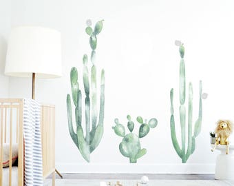 Cacti Wall Decal Watercolor Decal Mural Cactus Wall Decal Shelf Adhesive Removable Kids Decor Tribal Baby Nursery. Large Cacti Wall Decal